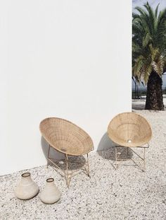set of modern woven bucket-seat chairs. / sfgirlbybay