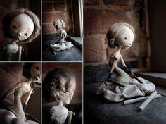 astrid [stone clay, wood, tussah silk fiber, textiles, 2011] - karly perez.