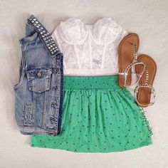 denim lace skirt and sandals