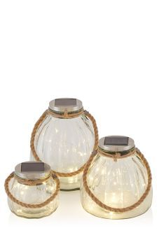 Solar Set Of 3 Glass Lanterns With Firefly LED's