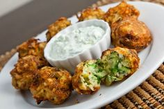 Greek zucchini and feta balls with tzatziki