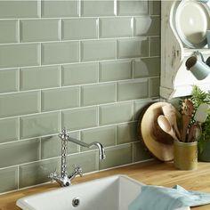 Super Ideas For Bathroom Green Tile Inspiration Metro Tiles Kitchen, Green Kitchen Walls, Sage Green Kitchen, Metro Tiles Bathroom, Wall Tiles For Kitchen, Kitchen Splashback Tiles, White Tile Kitchen, Green Country Kitchen, Warm Kitchen Colors