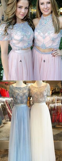 Two Pieces Prom Dresses,Beaded Prom Dress,Luxury Prom Dress,Short Sleeve Prom Dresses,Tulle Prom Gowns, Design Prom Dresses,Rhinestone Prom Dresses