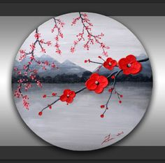 "ORIGINAL Fine Art Tree Branches Textured Red Flowers Painting Abstract Black and White Landscape Home Decor 20"" Round Canvas, great gift by ZarasShop"