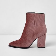 Pink corduroy block heel pointed ankle boots £45.00