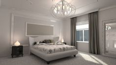 white bedroom with crown molding and chandelier