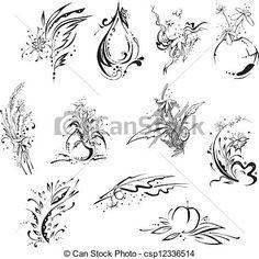 Wektor - Stylistic, kwiat, embellishments - zbiory ilustracji, ilustracje royalty free, zbiory ikon klipart, zbiór ikon klipart, logo, sztuka, obrazy EPS, obrazki, grafika, grafik, rysunki, rysunek, obrazy wektorowe, projekt graficzny, EPS wektor graficzny