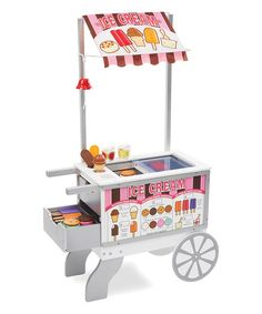 This fun play set lets little ones serve up hot dogs for the family and then switch to the ice cream menu for a sweet treat. The durable wood construction ensures lasting quality.  CHOKING HAZARD: Small parts. Not for children under 3 years