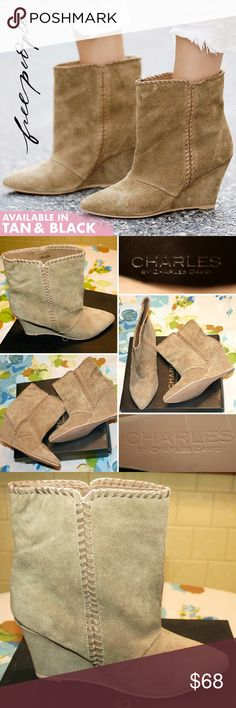"""Tan Whipstitched Suede Wedged Ankle Boot NIB LOVE these timelessly stylish, sophisticated & sexy suede ankle boots! They feature whipstitch detail that wraps around the top, a pointed toe, and wedge heel. Uniquely dyed - color ranges from camel to tobacco with +/- olive undertone. Pics of a specific size/pair available upon request. Genuine suede leather, synthetic sole. 3"""" heel. New in original box!   Free People Up All Night Boot made by Charles David   Also available in black (w/ one…"""