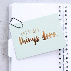 """Glitzer Postkarte """"Let´s get things done"""""""