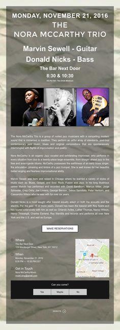 Monday, November 21 - The Nora McCarthy Trio @ Bar Next Door