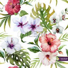 Beautiful hibiscus vector pattern photo