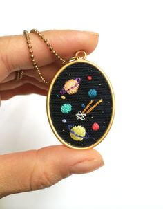 Hand embroidered ' Space ' Necklace by BaobapHandmade on Etsy