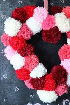 How To Make a Heart Shaped Wreath Form Valentines Day Pom Pom Wreath Diy Valentines Day Wreath, Valentines Day Decorations, Valentine Day Crafts, Printable Valentine, Homemade Valentines, Valentine Box, Valentine Ideas, Pom Pom Wreath, Diy Wreath