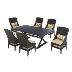 Hampton Bay Woodbury 7 Piece Patio Dining Set With Textured Sand  Cushions D9127