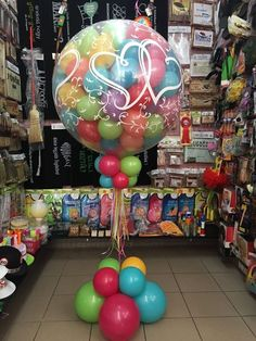 Can use polka dot clear  balloon  and this can be used for clown decor can also use some of the clear colorful print balloons