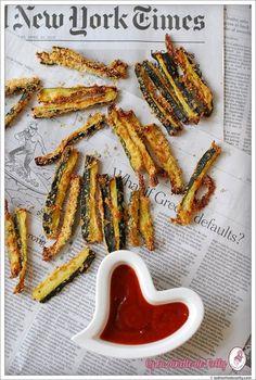 Frites de courgettes amande et parmesan au four