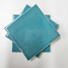 Handmade ceramic tiles from Mercury Mosaics.  Such a rich blue colors: Caribbean Blue!  Imagine this in your bathroom!