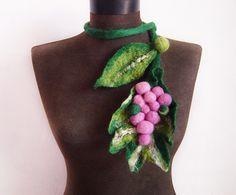 felt statement necklace felt grapes and leaves felted von evalinen, $22.00