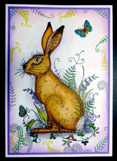 Crafts, photography, music and life in general Notebook Ideas, Journal Notebook, Handmade Birthday Cards, Handmade Cards, Design Cards, Bunny Art, Ink Stamps, Animal Cards, Fantasy Creatures