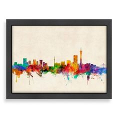 Americanflat Art Pause Johannesburg Colored Panoramic Skyline Wall Art - BedBathandBeyond.com