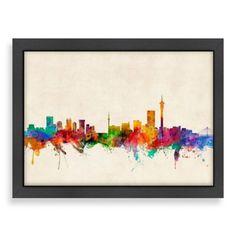 Americanflat Art Pause Johannesburg Colored Panoramic Skyline Wall Art - BedBathandBeyond.com
