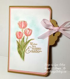Let's try this again - Easter Blessings - Stamping with Avery's Owlery 50th Birthday Cards, Easter Religious, Watercolor Cards, Greeting Cards Handmade, Stampin Up Cards, Making Ideas, Cardmaking, Scallop Top, Tulip