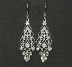 Rhinestone Chandelier Earrings -- Chandelier Bridal Earrings, Wedding Jewelry, Wedding Earrings, Silver Filigree, Rhinestones -- EMMA. $28.00, via Etsy.
