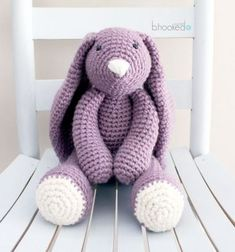 Big purple crochet bunny (amigurumi bunny) - free crochet pattern // Nagy lila horgolt nyuszi (amigurumi nyuszi) - ingyenes horgolásminta // Mindy - craft tutorial collection // #crafts #DIY #craftTutorial #tutorial