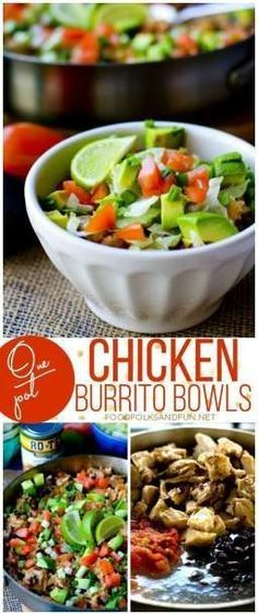 One Pot Chicken Burrito Bowls Recipe for dinner – a quick & easy one pot Mexican meal that feeds a crowd. Your family will love it!