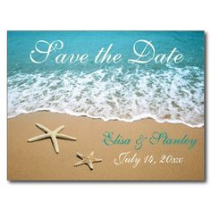 Pair of starfish beach wedding Save the Date Post Cards by #weddings_
