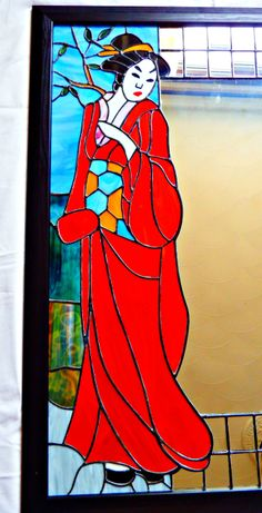 Red Geisha Mirror - handmade stained glass