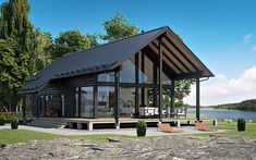 Small Prefab Homes, Prefab Modular Homes, Prefab Cabins, Cabin Homes, Cottage Homes, Japan House Design, Small Lake Houses, Lake House Plans, A Frame House