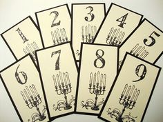 Good idea for table number cards Zombie Wedding, Our Wedding, Dream Wedding, Wedding Stuff, Wedding Ideas, Boho Beach Wedding, Cool Tables, Till Death, Wedding Table Numbers