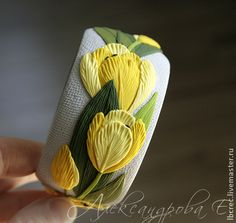 Polymer clay bangle Yellow tulips - Wide bracelet - Flowers and leaves - Bright bangle - Yellow green blue - Massive floral bracelet Polymer Clay Bracelet, Clay Earrings, Polymer Clay Flowers, Polymer Clay Crafts, Biscuit, Yellow Tulips, Bright Yellow, Blue Yellow, Polymer Clay Miniatures