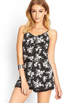 Buttoned Floral Romper | Forever 21