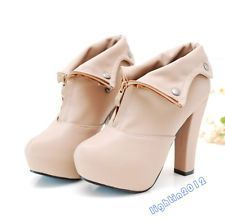 New Women Thick High Heel Platform Ladies Shoes fastener Pump Zipper Ankle Boots Black Ankle Booties, Ankle Boots, Cute Shoes, Me Too Shoes, Bride Shoes, Sexy High Heels, Crazy Shoes, Beautiful Shoes, Shoe Game