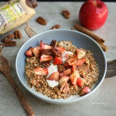 Coffee Caramel Apple Pecan Millet Porridge with a sweet spiced Apple Pecan topping  So warming and delicious  I tried out the @h2coco #cocoespresso coconut water which has a full shot of coffee ☕️ as the base for this porridge, and that combined with the dates, Maca, grated apple and almond milk, became a caramelly taste sensation  My husband said I was turning into a bird, and I think I've proven him right by finally trying out millet. It has a delicious crunch to it, that you don't get…