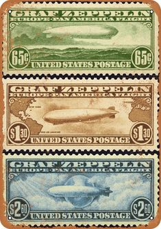 US postage airmail stamp set issued in 1930 specifically for mail transport by the German run Graf Zeppelin. ty, Keith S. via stamp auction network Old Stamps, Rare Stamps, Vintage Stamps, Vintage Labels, Zeppelin, Cave Bar, Commemorative Stamps, Man Cave Garage, Postage Stamp Art