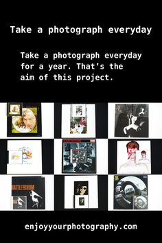 Take a photograph everyday for a year. You like taking photos, but if you're not a professional photographer, there will be periods when you don't take any. Photography For Beginners, Photography Projects, Camera Photography, Photography Business, Photography Tutorials, Digital Photography, Photography Ideas, Camera Crafts, Profile Website