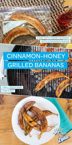 We can't get enough of this grilled banana recipe. These caramelized bananas are the perfect dessert for a backyard BBQ. Slice them lengthwise and coat them in honey. Then shake them up in a Ziploc® bag with cinnamon sugar. Grill each side for 2 minutes and enjoy!
