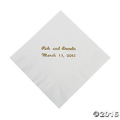 Personalized White Beverage Napkins. Put your personal touch on any party with these beautiful personalized paper napkins! Anniversaries, graduations, ...