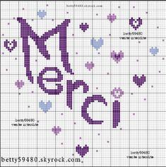 merci - thank you - point de croix-cross stitch - broderie-embroidery- Blog : http://broderiemimie44.canalblog.com/
