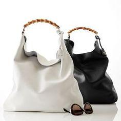 Make Hobo Bag Bamboo Handle Hobo in White or Black Hobo Purses, Hobo Handbags, Gucci Handbags, Gucci Bags, Purses And Handbags, Hobo Bags, Beautiful Handbags, Beautiful Bags, Tan Leather Handbags