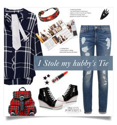 """I stole my Hubby's Tie"" by linkfari ❤ liked on Polyvore featuring Rails, Tommy Hilfiger, Current Mood, GameWear and MAC Cosmetics"