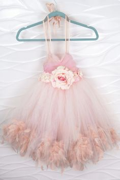Blush Flower Girl Dress Feather and Tulle by LoveLeeLadyCouture