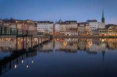 On a Mild Winter Evening in Zurich (III) Old Town, The Row, Old Things, River, Night, Old City, Rivers