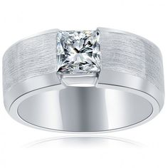 1.09 Carat E-VS1 Princess Cut Diamond Wedding Band Ring 14k White Gold - Men's Diamond Wedding Bands - Wedding Bands