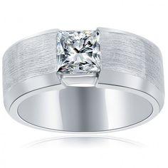 1.09 Carat E-VS1 Princess Cut Diamond Wedding Band Ring 14k White Gold - Men's Diamond Wedding Bands - Wedding Bands