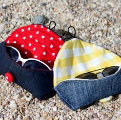Sunglasses case, based on Thread Riding Hood's tutorial. Repurposed jeans and duvet cover.